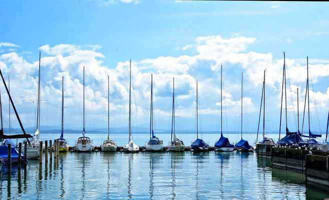 Poster Sailing Boats Port Boat Masts Fluss Chiemsee