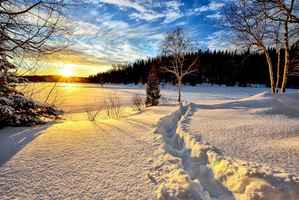 Poster Winterlandschaft Sonnenuntergang Download
