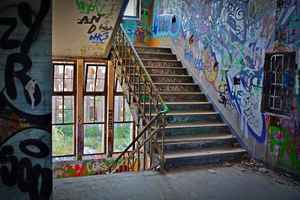 Poster Lost Places Factory Stairs Pforphoto Staircase Graffiti