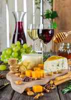 Poster Cheese Plate Wine Snacks Gastronomy Nutrition Essen