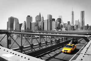 Poster New York Taxi Schwarz-Weiß Skyline Manhattan Brücke Ny Download