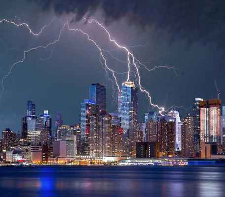 Poster New York Gewitter Blitz Sturm Himmel Stadt Download