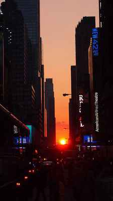 Poster New York Manhattan USA Abend Sonnenuntergang Manhattanhenge